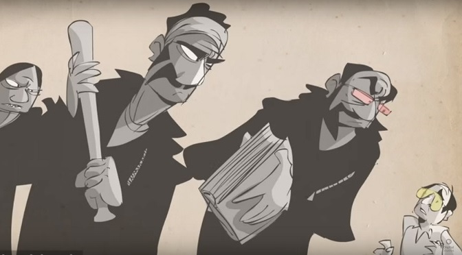 Animowany klip ożywia rzadki wywiad radiowy z HST na temat Hells Angels!