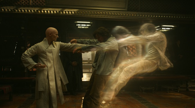 Marvel's DOCTOR STRANGE  L to R: The Ancient One (Tilda Swinton) and Doctor Stephen Strange (Benedict Cumberbatch)  Photo Credit: Film Frame   ©2016 Marvel. All Rights Reserved.